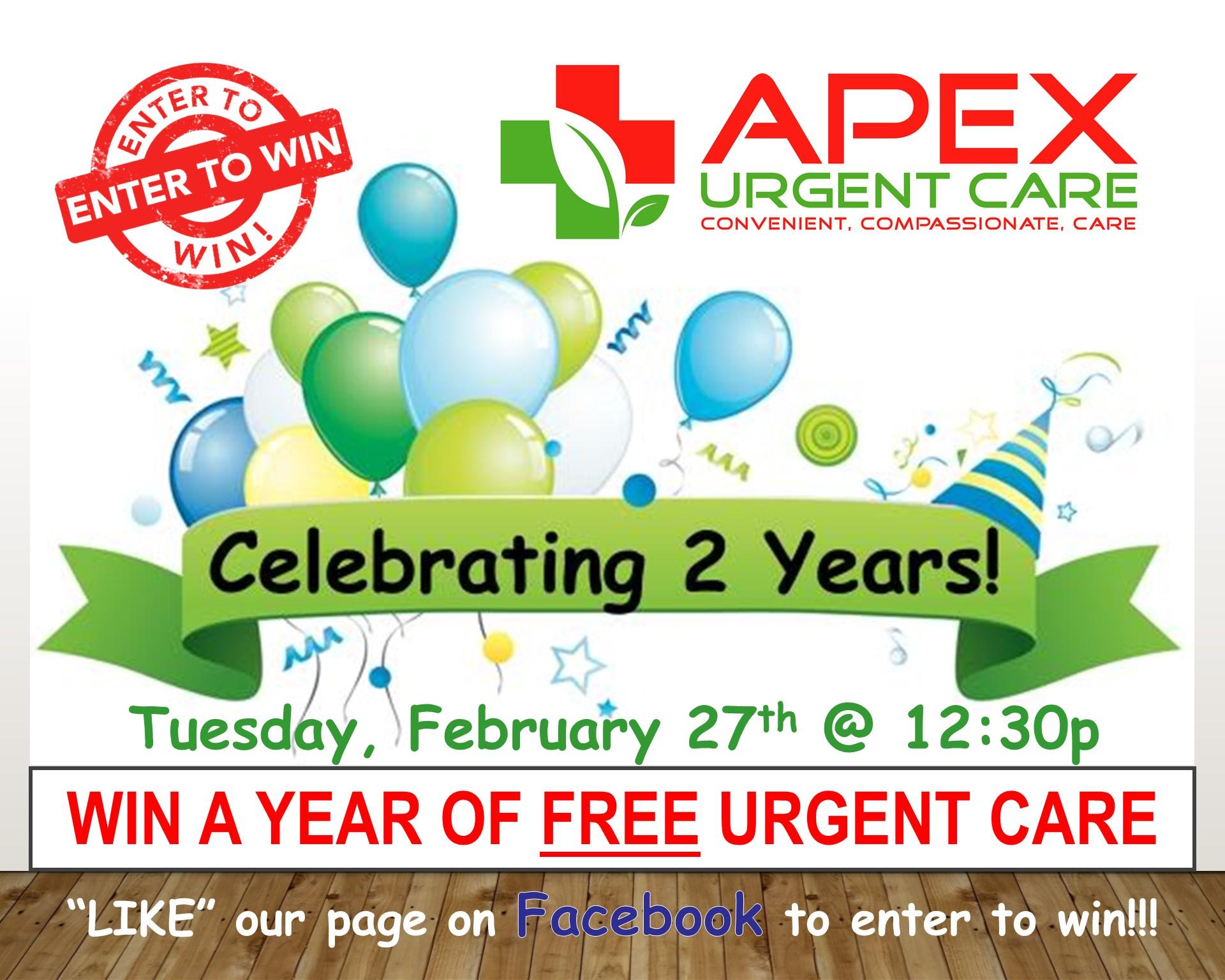 apex urgent care 2 year anniversary celebration apex urgent care
